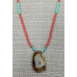 Oh Look Darling Orange, pale Green Beads with Geode Necklace