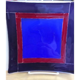 Melanie Hamilton Fused Glass Plate - Red, Purple, Blue