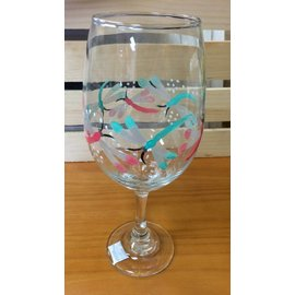 The Painted Vessel Painted Clear Wine Glass with Dragonflies