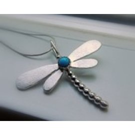 MoodiChic Jewelry Sterling Silver and Turquoise Dragonfly Pendant