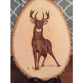 Ryan Derby - Native American Artisan Buck on Basswood Native American Plaque