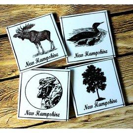 The Write Stuff Design Ceramic Coaster Set - New Hampshire Images