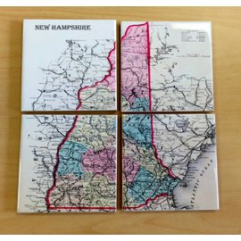 The Write Stuff Design Ceramic Coasters - Map of New Hampshire