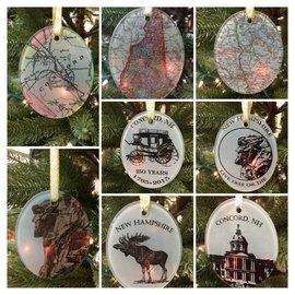 The Traveled Lane NH Ceramic  Ornaments