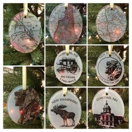 The Write Stuff Design NH Glass Ornaments