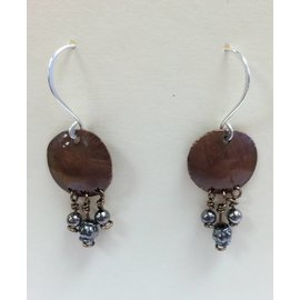 Stone on Silver Copper and Glass Bead Earrings