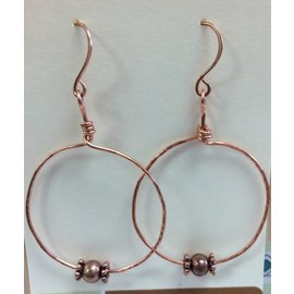 Stone on Silver Copper with Glass and Metal Bead Earrings