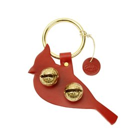 New England Bells Red Leather Cardinal Brass Door Bells - #2 Medium Tone