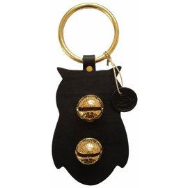 New England Bells Black Leather Owl Door Bell #2 Medium Tone