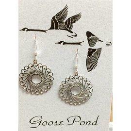Goose Pond Filigree Round Earrings - Rhodium