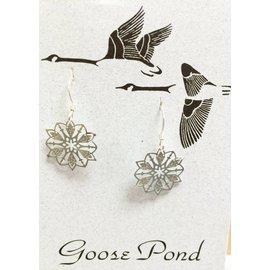Goose Pond Snowflake Earrings - Rhodium