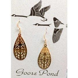 Goose Pond Filigree Teardrop Earrings - 24K Gold Plated