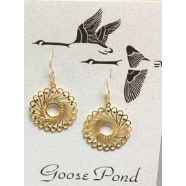 Goose Pond Filigree Rounds Earrings - 24K Gold Plated