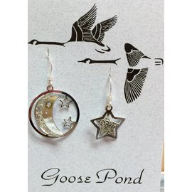 Goose Pond Moon and Star Earrings - Rhodium
