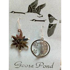 Goose Pond Sunburst and Moon Earrings - Rhodium