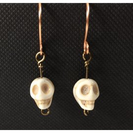 Stone on Silver Copper and Skull Bead Earrings