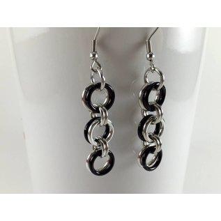 Knitting Metal Three Rings Earrings