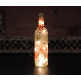 Gifts of Glass Bottle Light Orange Poppies with Butterflies