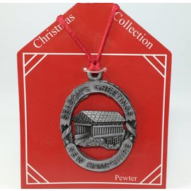 Lindon Associates New Hampshire Pewter Covered Bridge Ornament