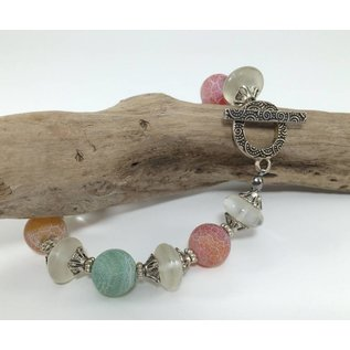 Birds on The Wing Matt Agate with Frosted Glass Bracelet