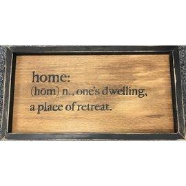 Cedar Porch Designs Framed Wood Sign - Definition of Home