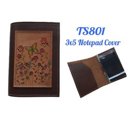 Log Cabin Leather by Jan Leather Notepad Cover 3x5