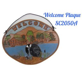 Log Cabin Leather by Jan Leather Welcome Sign- Loon
