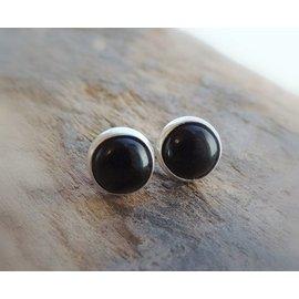 MoodiChic Jewelry Sterling Silver Onyx Stud Earrings