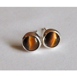 MoodiChic Jewelry Sterling Silver Tiger Eye Stud Earrings