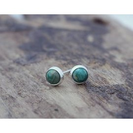 MoodiChic Jewelry Sterling Silver Green Turquoise Stud Earrings