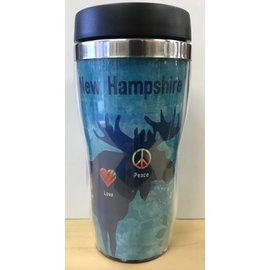 Tree-Free Greetings Peace Love Moose Travel Mug