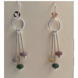 Stone on Silver Sterling Silver and Jasper Earrings