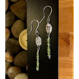 Stone on Silver Sterling Silver and Olivine Earrings