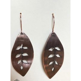 Stone on Silver Copper Pierced Leaf Earrings