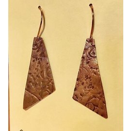 Stone on Silver Copper Patterned Earrings