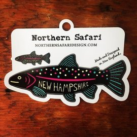 Northern Safari Design Trout Decal / Sticker (black)