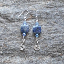 John Marc Bimonte Sodalite with Crystals Earrings