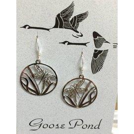 Goose Pond Dragonfly Earrings-Rhodium