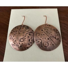 Stone on Silver Textured Copper Disc Earrings