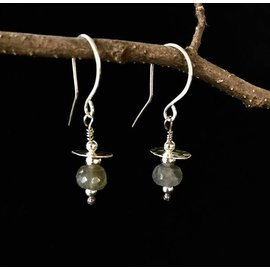 Stone on Silver Silver and Labradorite Earrings
