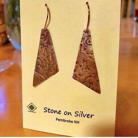 Stone on Silver Copper Trapezoid Earrings