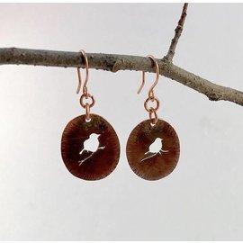 Stone on Silver Copper Pierced Bird Earrings