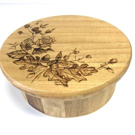 Woodburning By Gail Round Wooden Box - Leaves