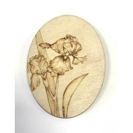 Woodburning By Gail Wood Plaque - Iris