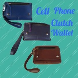 Log Cabin Leather by Jan Leather Cell Phone Clutch