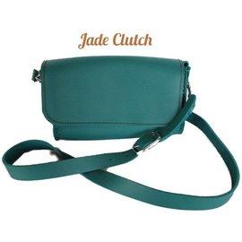 Log Cabin Leather by Jan Leather Cross Body Clutch - Jade