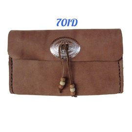 Log Cabin Leather by Jan Leather Clutch Purse - Cocoa