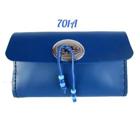 Log Cabin Leather by Jan Leather Clutch - Royal Blue