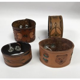 Log Cabin Leather by Jan Leather Cuff