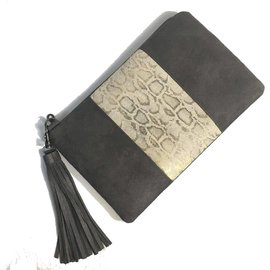 Under the Leaf Designs Leather and Vegan Suede Convertible Crossbody Clutch